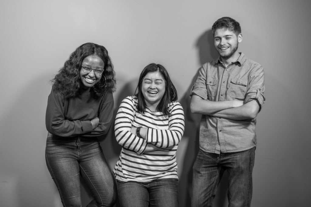 Photo of three co-hosts. Left to right: Nyawira Nyota, Sam Chan, Luke Shealy
