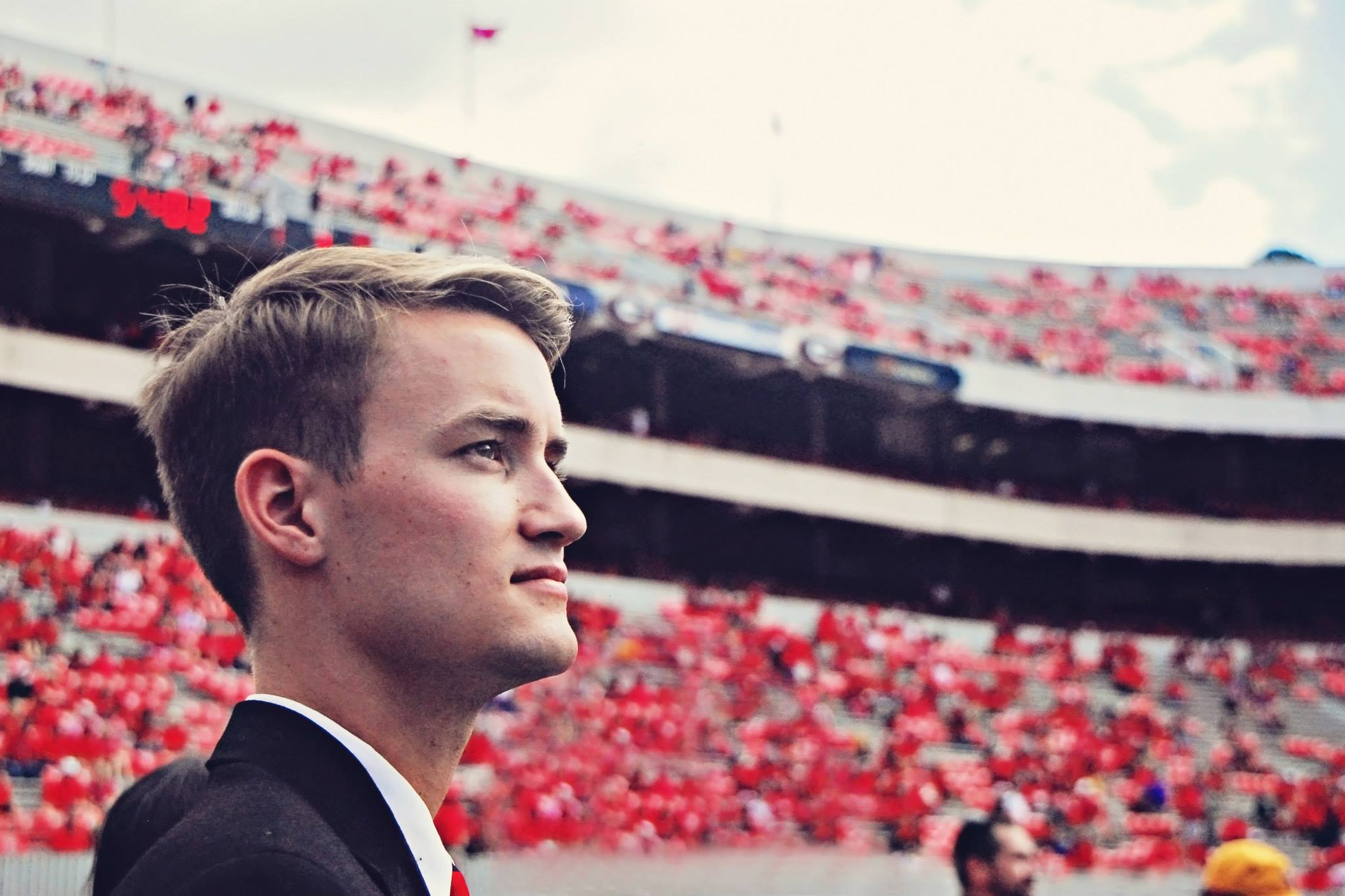 Standing on the football field as student body president of the University of Georgia