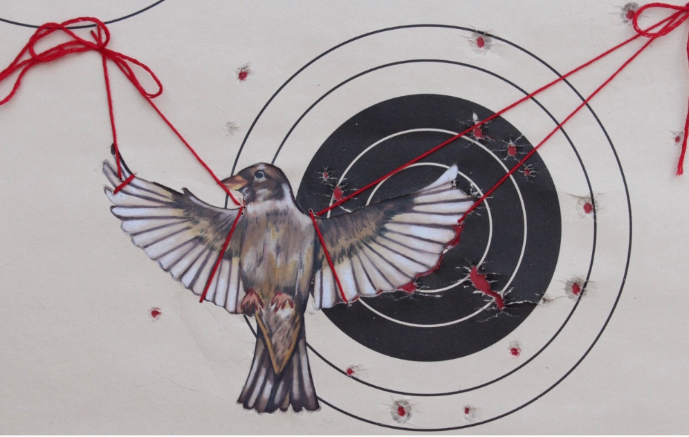 A youth created artwork. A song bird is attached to a target with red string. There are bullet holes all around the target and some blood is dripping from the bird.