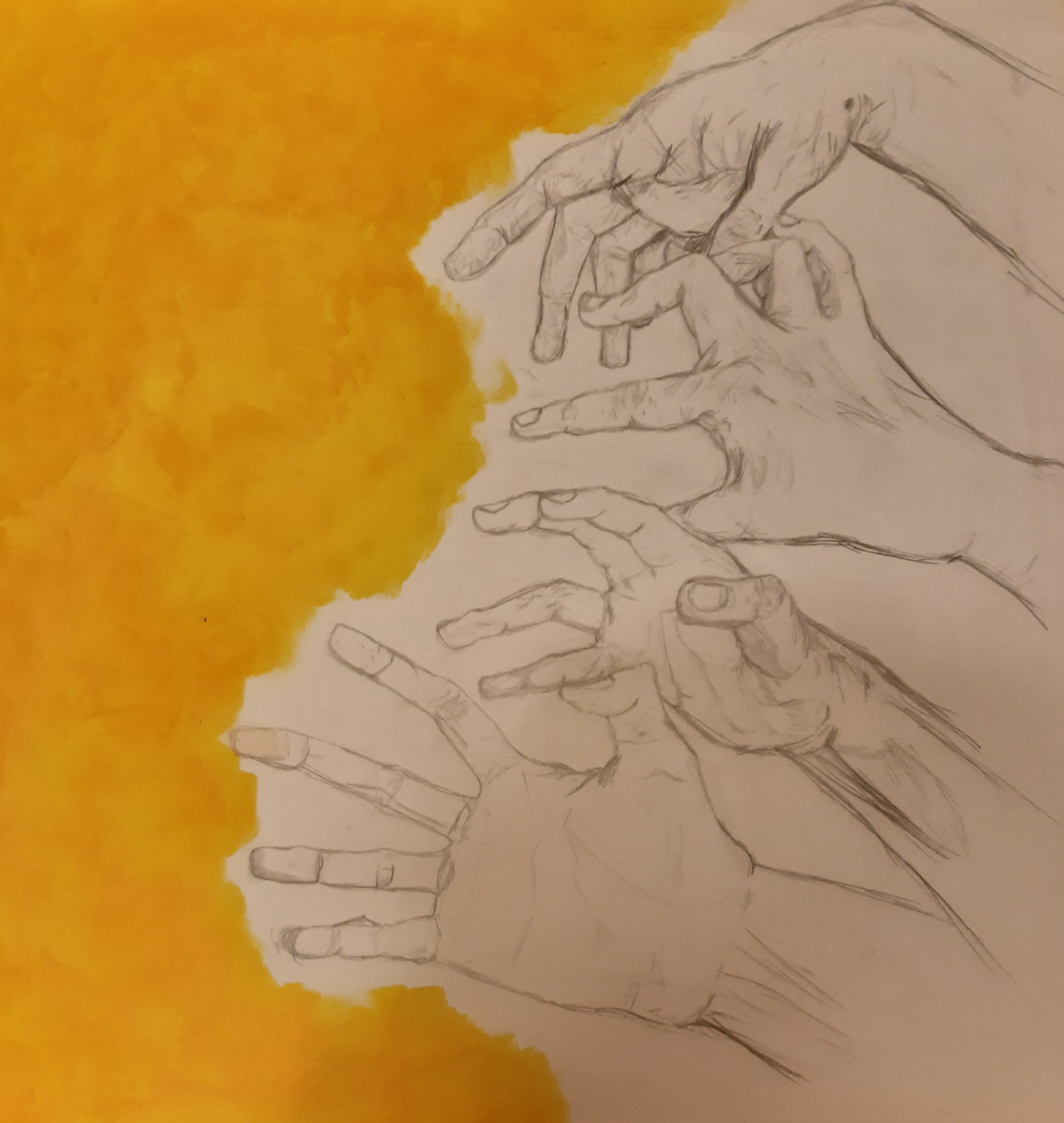 White hands in pencil reaching towards a yellow background