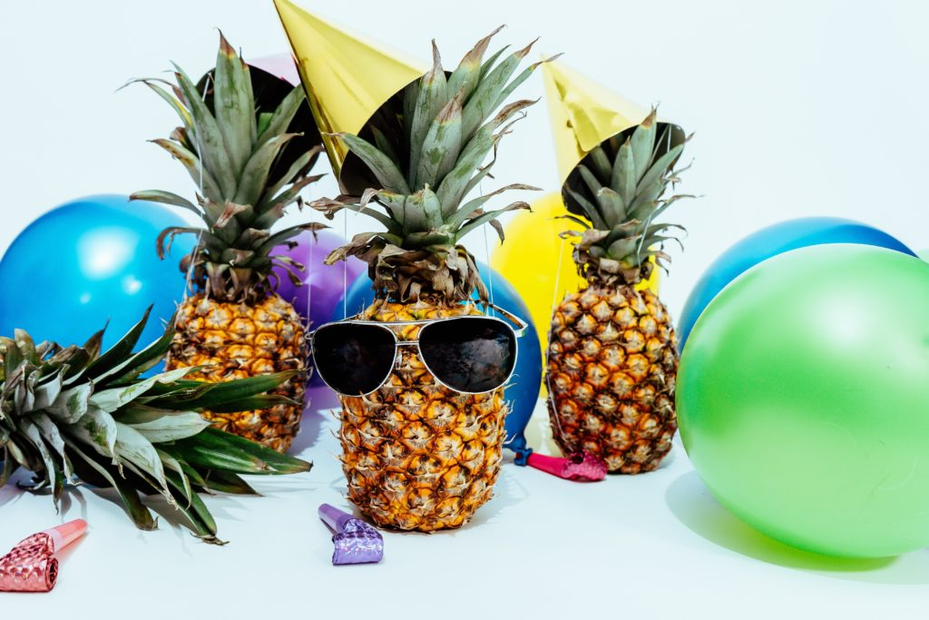 Pinapples dressed up to party.