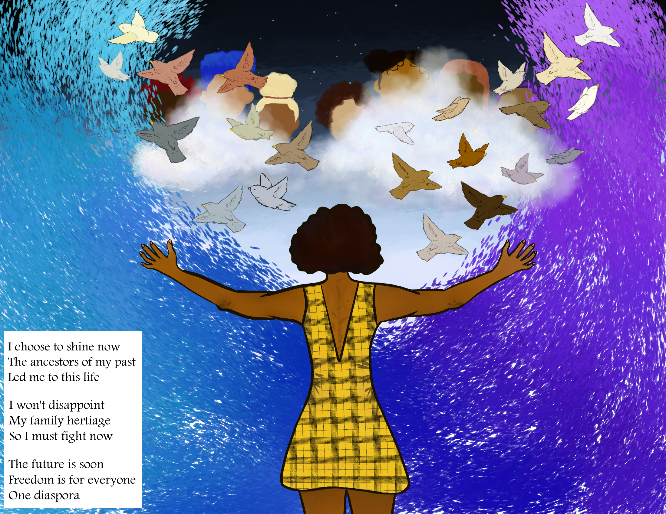 A black woman raises her arms towards a stary sky as birds fly from her arms.