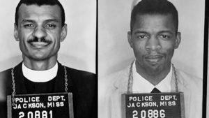 C.T. Vivian and John Lewis face camera for mugshots